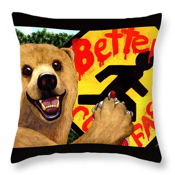 Graffiti Bear Throw Pillow