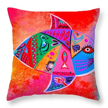 Graffiti Fish Throw Pillow