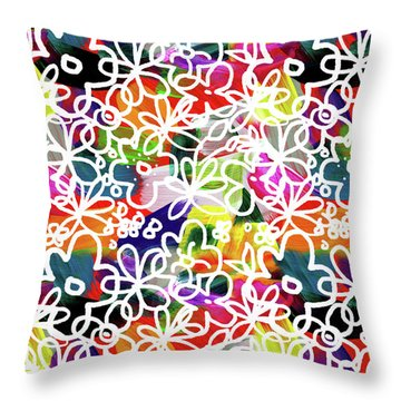 Throw Pillow featuring the mixed media Graffiti Garden 2- Art By Linda Woods by Linda Woods