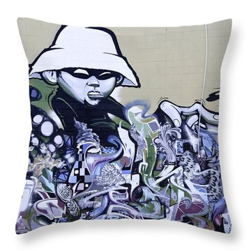 Graffiti Girl Throw Pillow