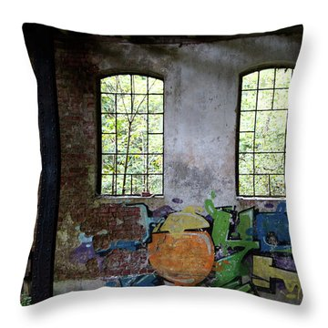 Graffiti On The Walls Of An Old Factory  Throw Pillow