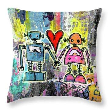 Graffiti Pop Robot Love Throw Pillow by Roseanne Jones