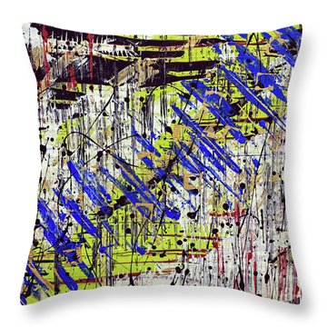 Throw Pillow featuring the painting Graffitti by Cathy Beharriell