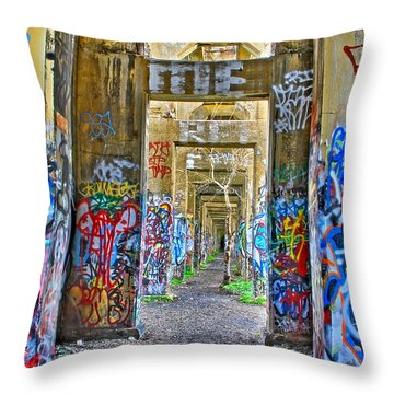 Grafiti Bridge To Nowhere Throw Pillow by Alice Gipson