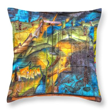 Throw Pillow featuring the photograph Grafiti Window by Michaela Preston