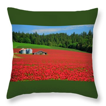 Grain Bins Barn Red Clover Throw Pillow