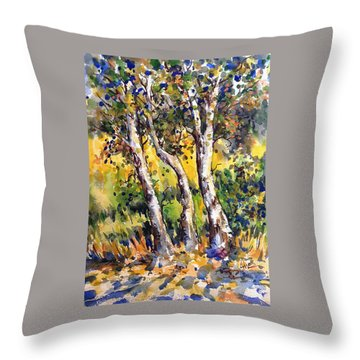 Grainery Poplars Throw Pillow
