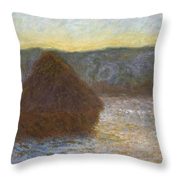 Grainstack, Thaw, Sunset, 1891 Throw Pillow