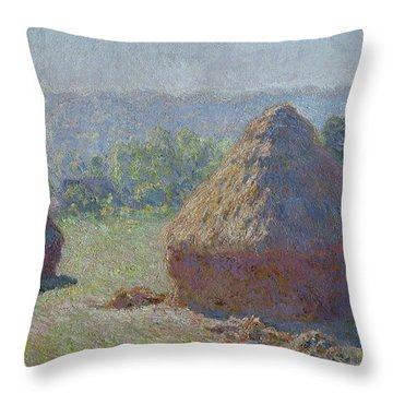 Grainstacks At The End Of Summer, Morning Effect, 1891 Throw Pillow