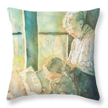 Gramdma Braids Throw Pillow by Jenny Armitage