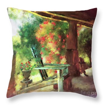 Throw Pillow featuring the digital art Gramma's Front Porch by Lois Bryan