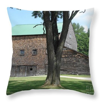 Grammie's Barn Through The Trees Throw Pillow