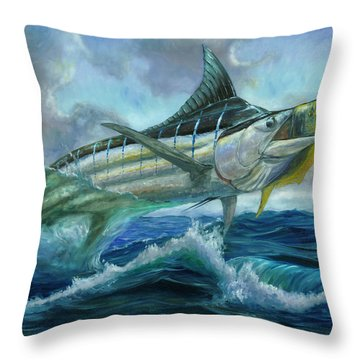 Grand Blue Marlin Jumping Eating Mahi Mahi Throw Pillow