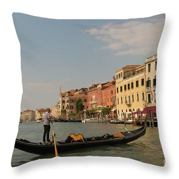 Grand Canal Gondola Throw Pillow by Loriannah Hespe