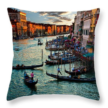 Grand Canal Sunset Throw Pillow by Harry Spitz