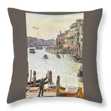Grand Canal - The Most Famous Canal In Venice Throw Pillow