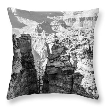 Throw Pillow featuring the photograph Grand Canyon Bw Impression by Juergen Klust