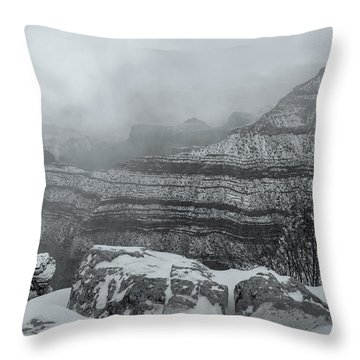 Grand Canyon In The Fog Throw Pillow