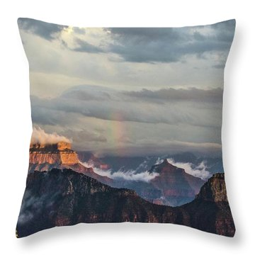 Grand Canyon Monsoon Rainbow Throw Pillow