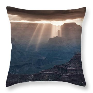 Throw Pillow featuring the photograph Grand Canyon Morning Light Show Pano by William Lee