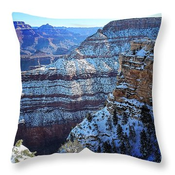 Grand Canyon National Park In Winter Throw Pillow