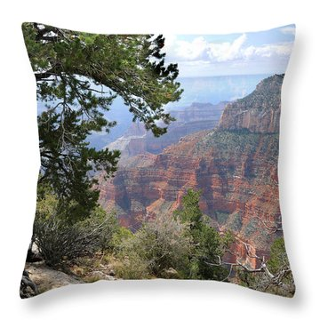Grand Canyon North Rim - Through The Trees Throw Pillow