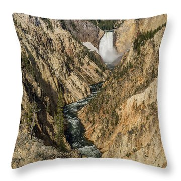 Grand Canyon Of The Yellowstone And Yellowstone Falls Throw Pillow