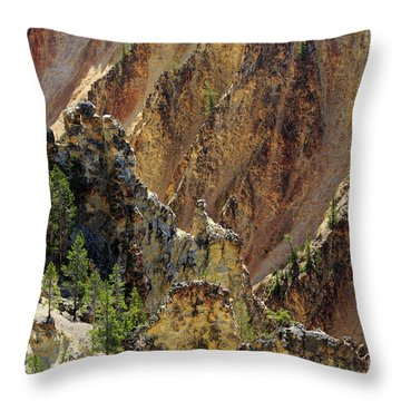 Grand Canyon Of The Yellowstone From North Rim Drive Throw Pillow by Louise Heusinkveld