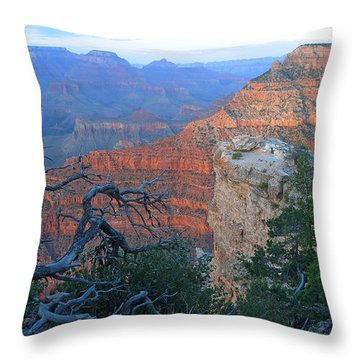 Grand Canyon South Rim - Red Hues At Sunset Throw Pillow