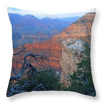 Grand Canyon South Rim - Red Hues At Sunset Throw Pillow