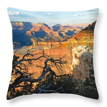 Grand Canyon South Rim - Sunset Through Trees Throw Pillow