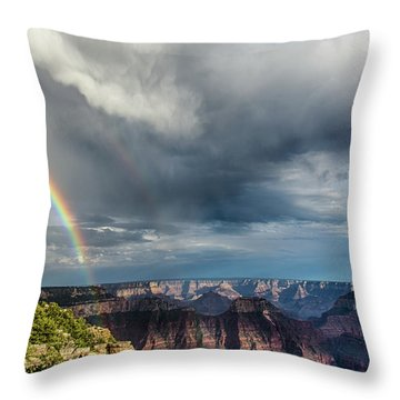 Grand Canyon Stormy Double Rainbow Throw Pillow