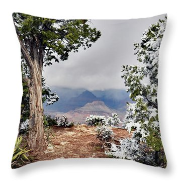 Grand Canyon Through The Trees Throw Pillow