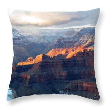 Grand Canyon With Snow Throw Pillow by Laurel Powell