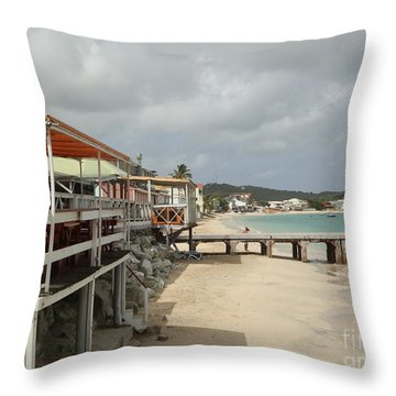 Grand Case Pier Throw Pillow by Margaret Brooks