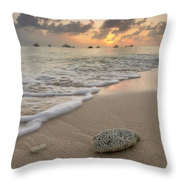 Throw Pillow featuring the photograph Grand Cayman Beach Coral At Sunset by Adam Romanowicz