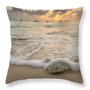 Throw Pillow featuring the photograph Grand Cayman Beach Coral Waves At Sunset by Adam Romanowicz