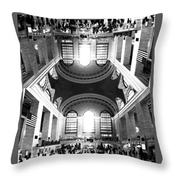 Throw Pillow featuring the photograph Grand Central Terminal Mirrored by Diana Angstadt