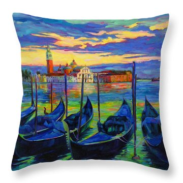 Throw Pillow featuring the painting Grand Finale In Venice by Chris Brandley
