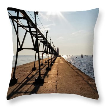 Throw Pillow featuring the photograph Grand Haven Pier by Lars Lentz