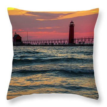 Grand Haven Pier Sail Throw Pillow by Pat Cook