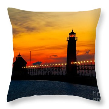 Grand Haven Sunset Throw Pillow by Nick Zelinsky