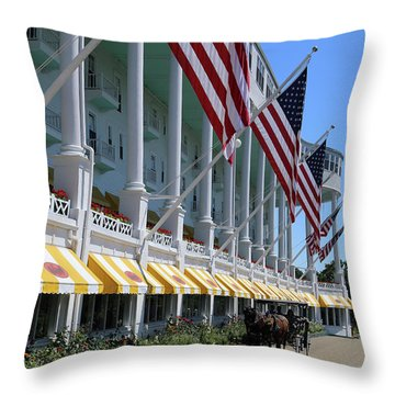 Grand Hotel With Taxi Throw Pillow by Mary Bedy