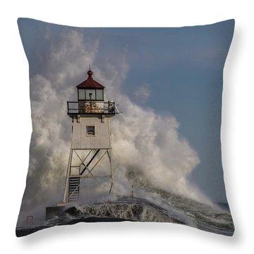 Throw Pillow featuring the photograph Grand Marais Light House by Paul Freidlund