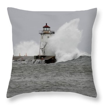Grand Marais Lighthouse Throw Pillow by Sandra Updyke