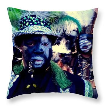 Grand Marshall Of The Zulu Parade Mardi Gras 2016 In New Orleans Throw Pillow by Michael Hoard