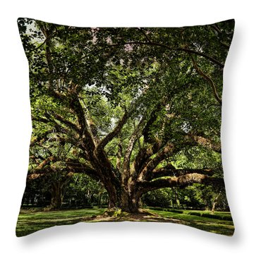 Grand Oak Tree Throw Pillow by Judy Vincent