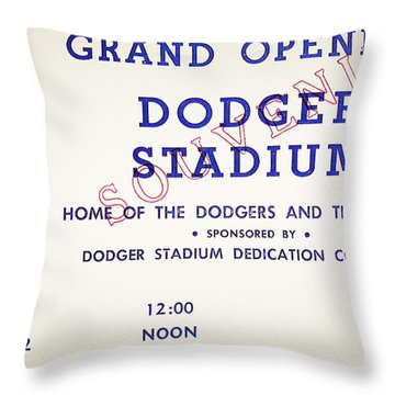 Grand Opening Dodger Stadium Ticket Stub 1962 Throw Pillow by Bill Cannon