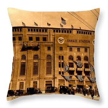 Throw Pillow featuring the photograph Grand Opening Of Old Yankee Stadium April 18 1923 by Peter Gumaer Ogden Collection
