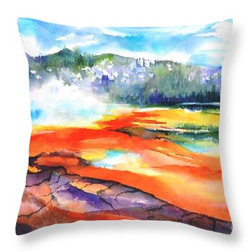 Grand Prismatic Hot Spring Throw Pillow